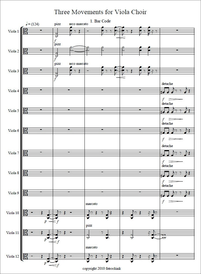 Three movements for viola choir, für 12 Bratschen