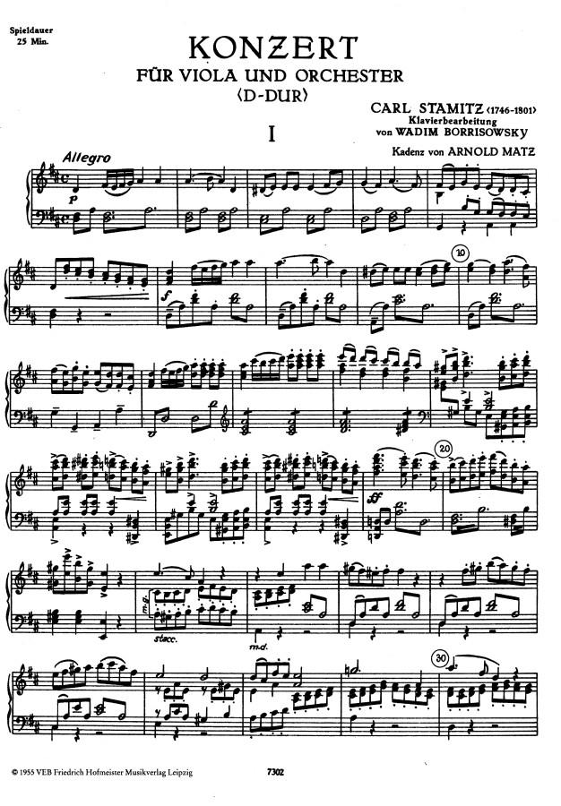 Konzert D-dur, op. 1 & KaiS 70.1, für Bratsche und Orchester