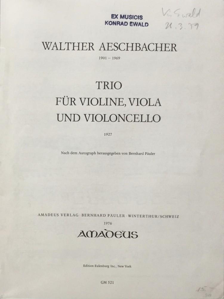 Trio, op. 21, für Violine, Bratsche und Violoncello