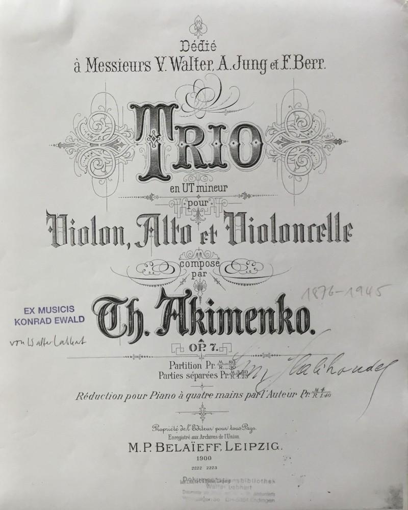 Trio c-moll, op. 7, für Violine, Bratsche und Violoncello