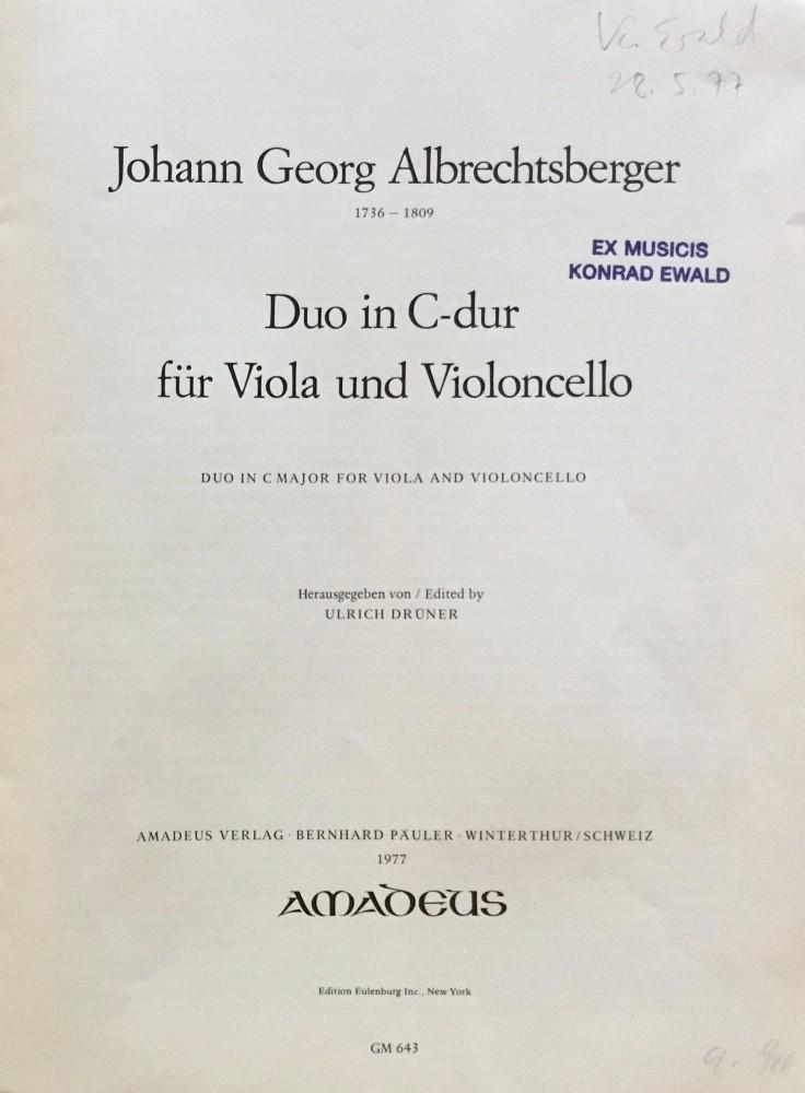 Duo C-dur, WeiAl 24, für Bratsche und Violoncello
