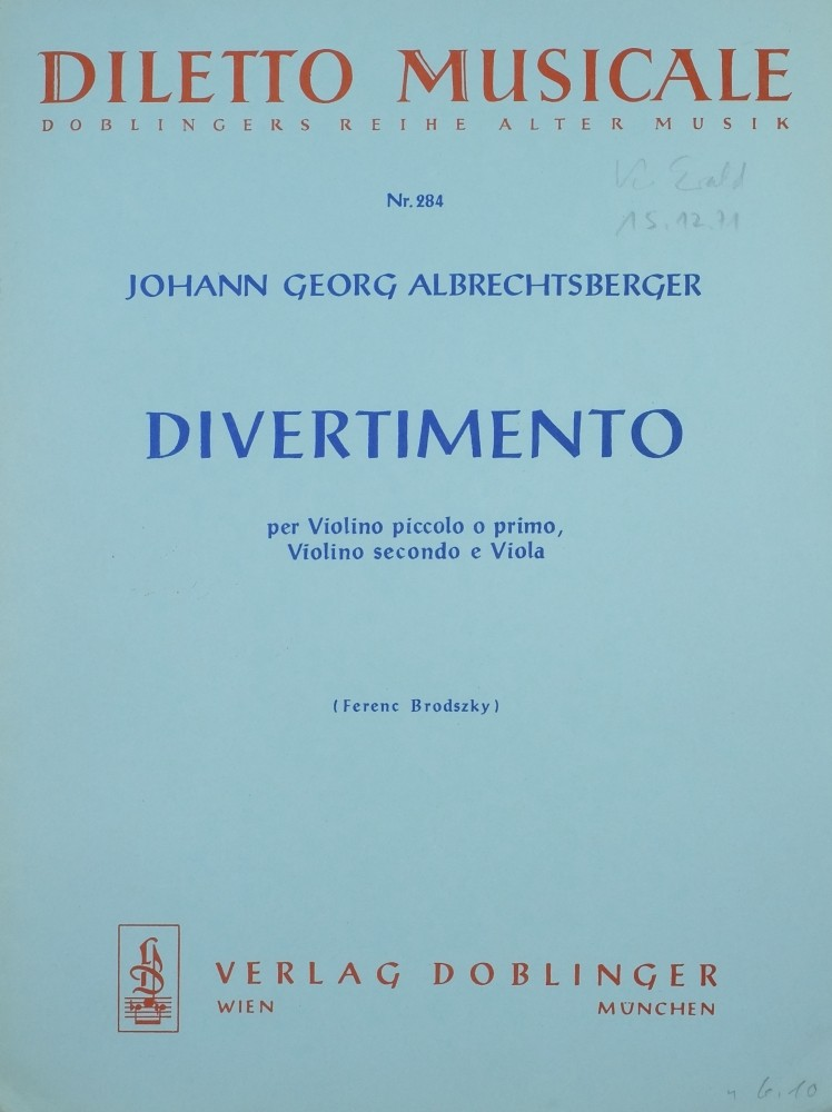 Divertimento F-dur, für 2 Violinen und Bratsche