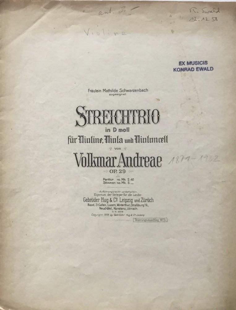 Trio d-moll, op. 29, für Violine, Bratsche und Violoncello