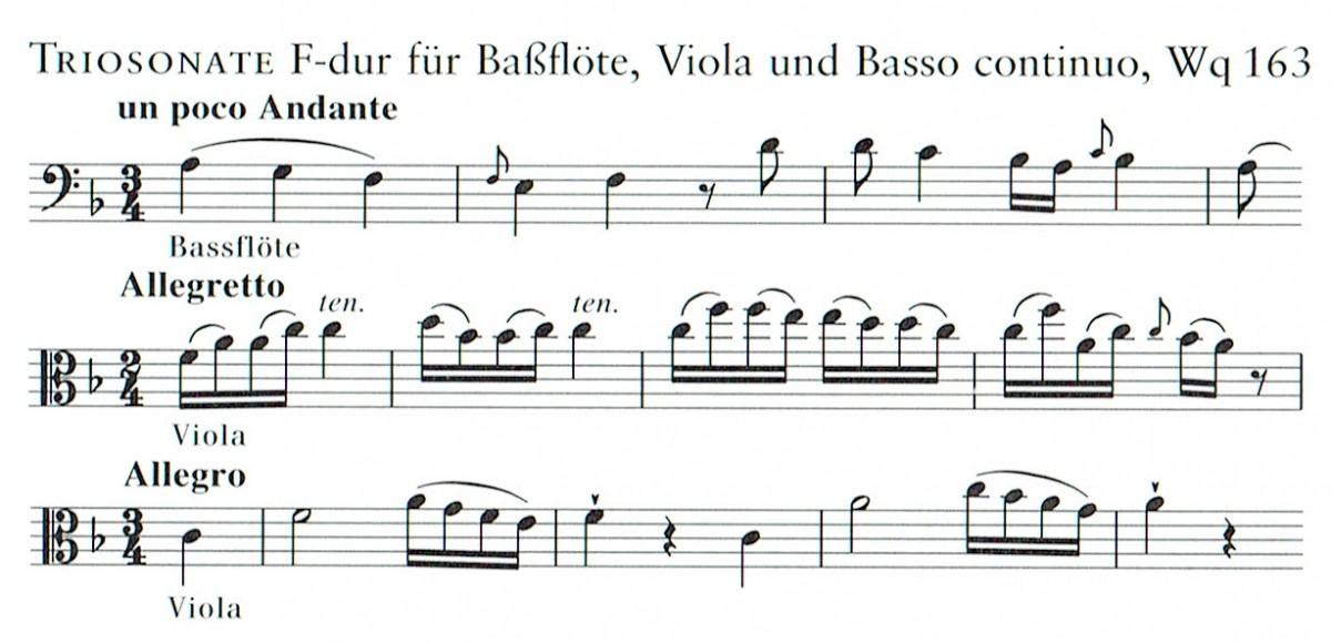 Trio F-dur, Wq 163, für Bassflöte, Bratsche (2 Bratschen) und Basso continuo