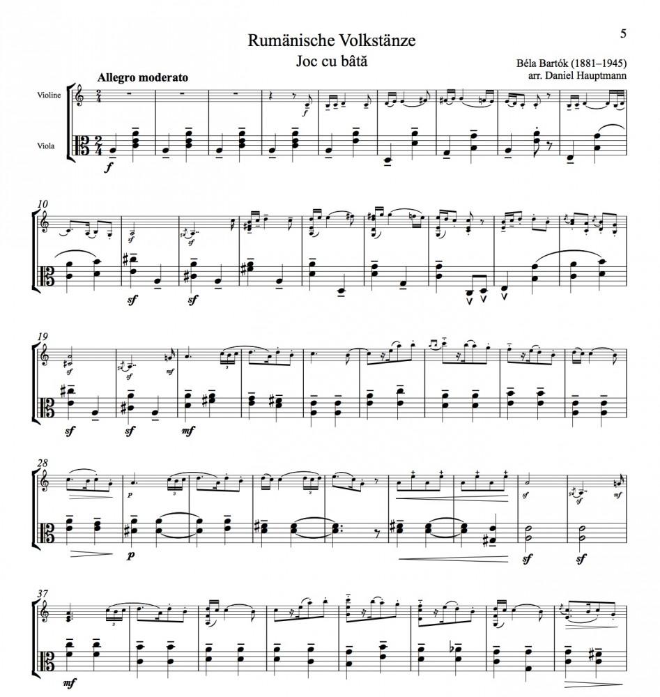 Rumänische Volkstänze, für Violine und Bratsche