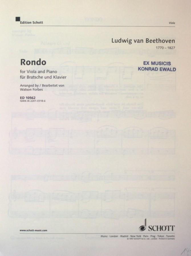 Rondo F-dur, für Violine und Klavier, arrangiert für Bratsche und Klavier