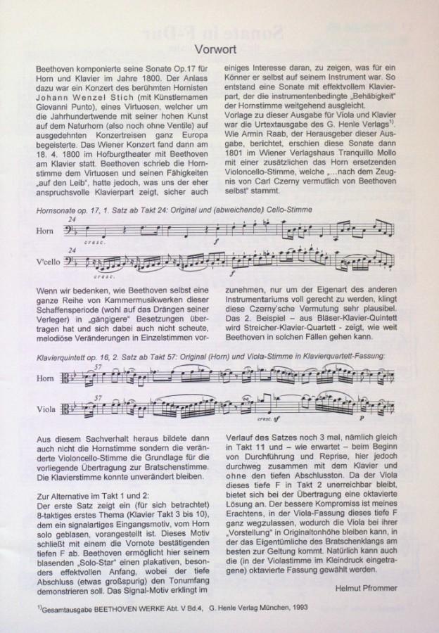 Sonate F-dur, op. 17, für Horn und Klavier, arrangiert für Bratsche und Klavier