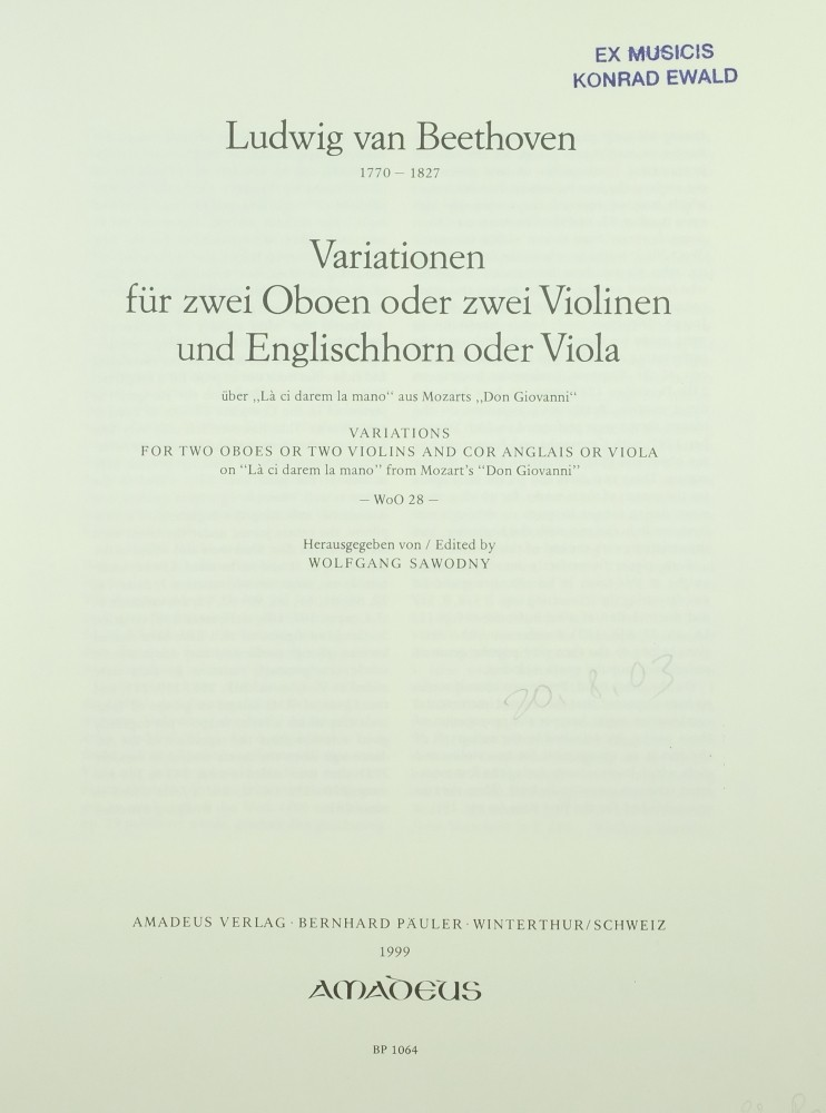 Variationen über «Là ci darem la mano» (aus «Don Giovanni»), für 2 Oboen (Violine) und Englischhorn (Bratsche)