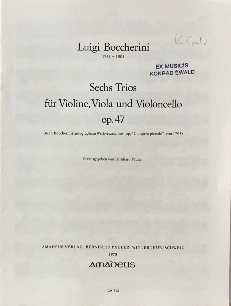6 Trios (A/G/B/Es/D/F), op. 38, für Violine, Bratsche und Violoncello