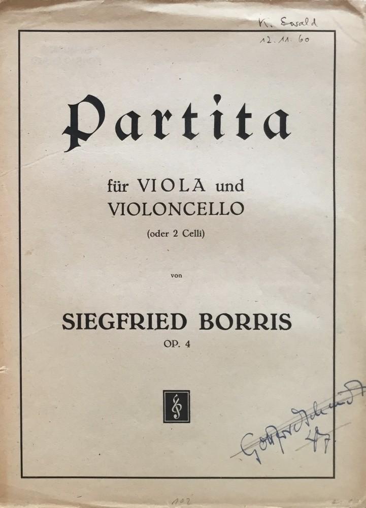 Partita, op. 4, für Bratsche und Violoncello (oder 2 Violoncelli)