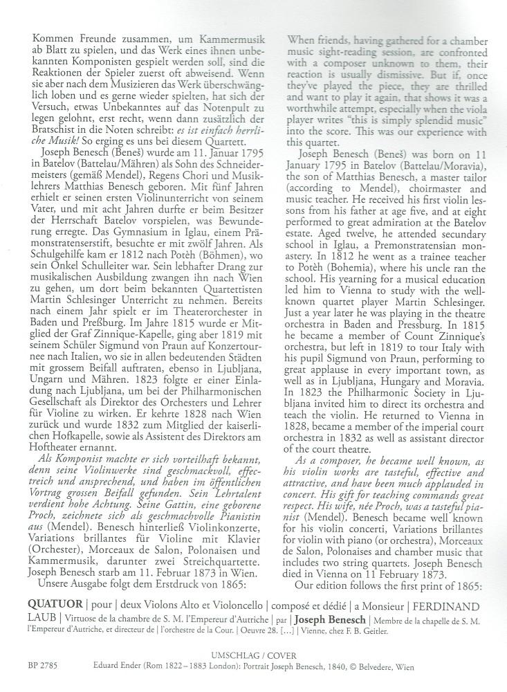 Streichquartett G-dur, op. 28, für 2 Violinen, Bratsche und Violoncello