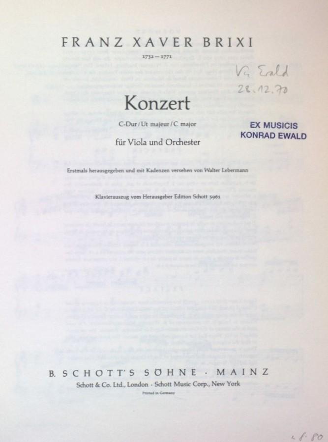 Konzert C-dur, für Bratsche und Streicher