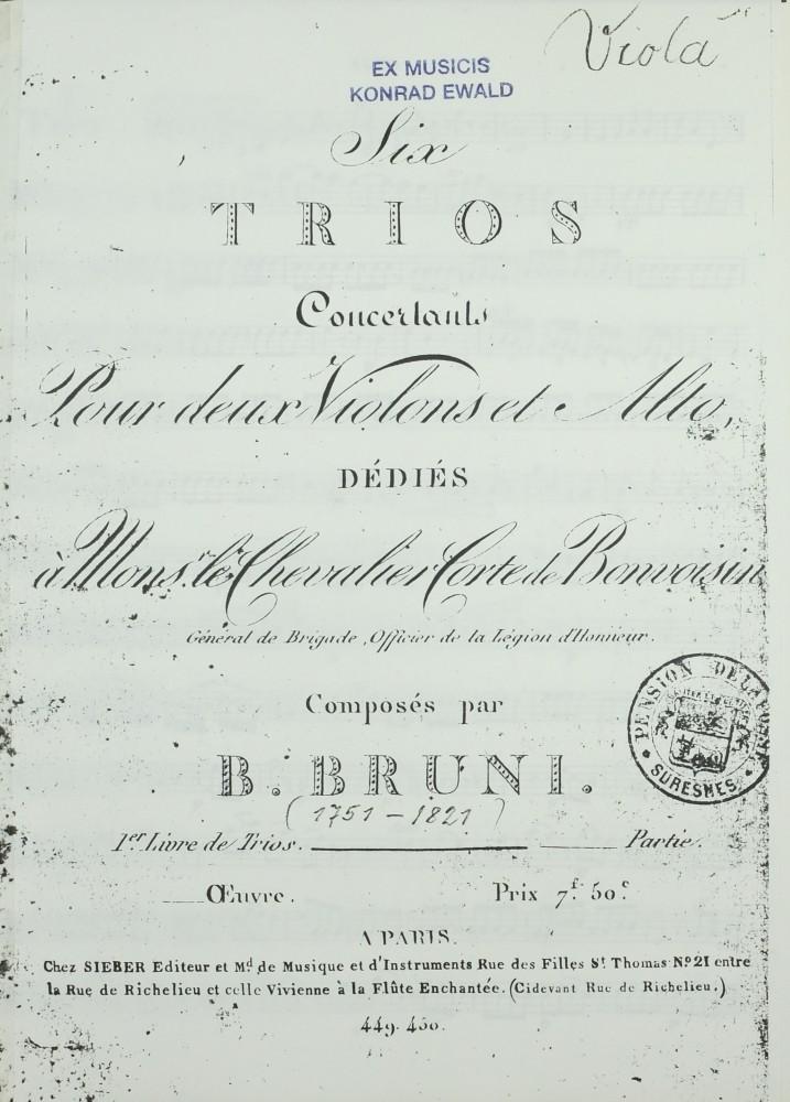 6 Trios (g/D/g/Es/d/B), op. 4, für 2 Violinen und Bratsche (Violoncello)