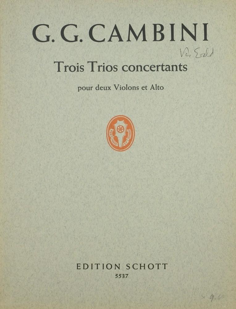 3 konzertante Trios (F/B/Es), für 2 Violinen und Bratsche