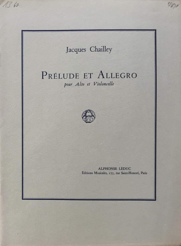 Prélude et Allegro, für Bratsche und Violoncello