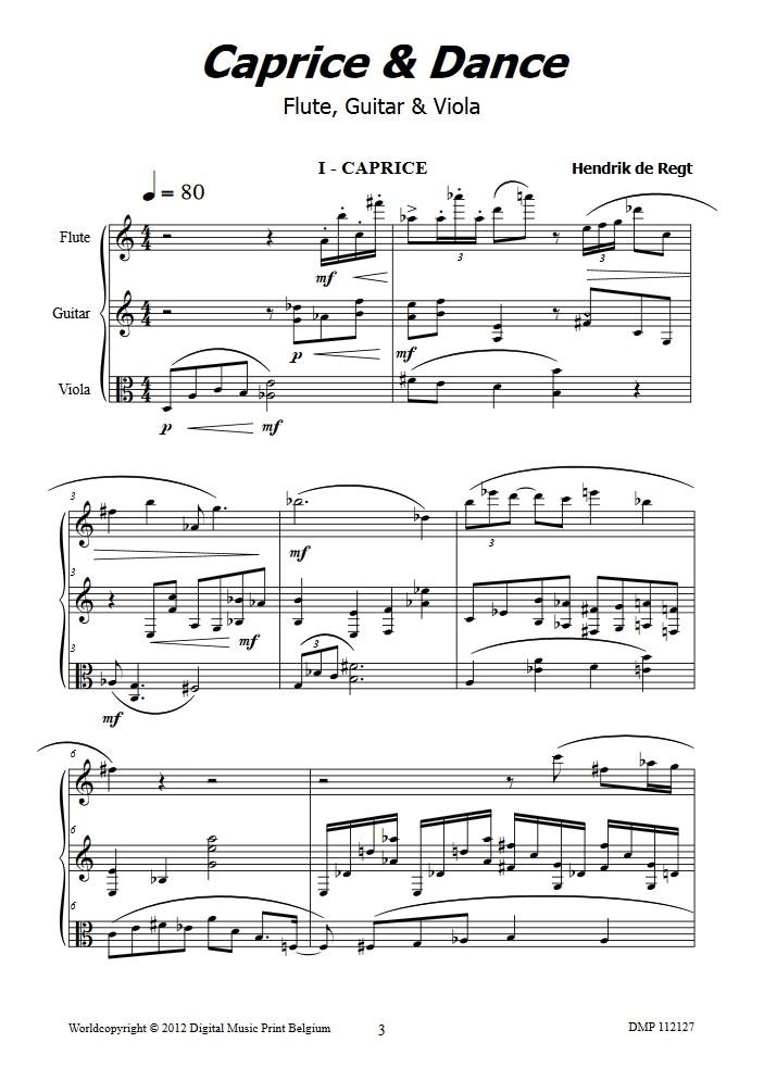 Caprice & Dance, für Flöte, Gitarre und Bratsche