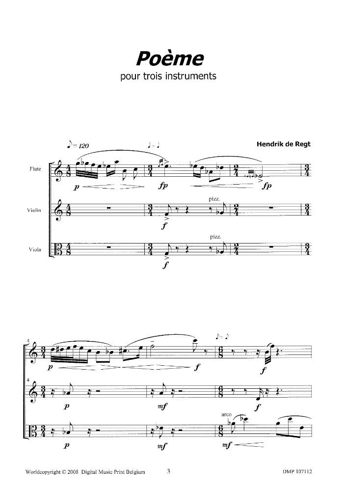 Poème, für Flöte, Violine und Bratsche