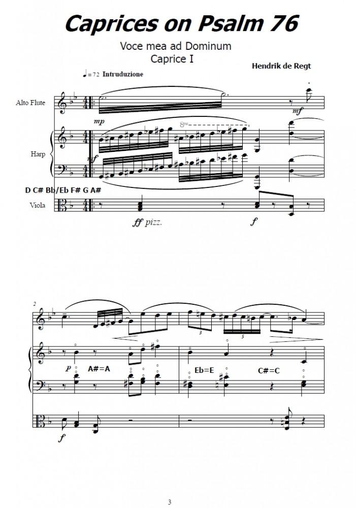 Caprices on Psalm 76, Voce mea ad Dominum, für Bratsche und Harfe