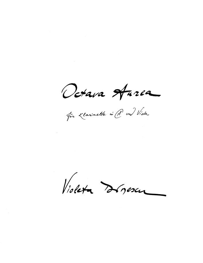 Octava Aurea, für Klarinette in A und Bratsche