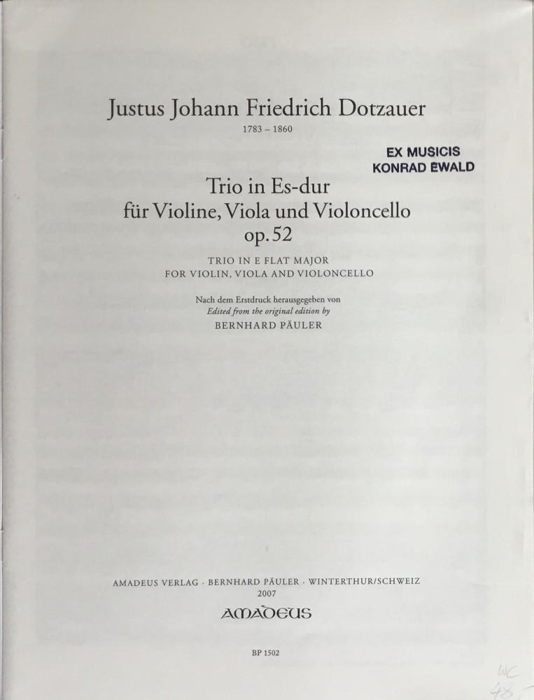 Trio Es-dur, op. 52, für Violine, Bratsche und Violoncello