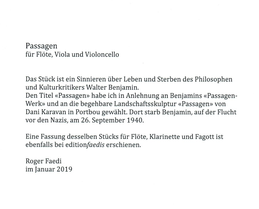 Passagen (Passages) , for Flute, Viola and Violoncello