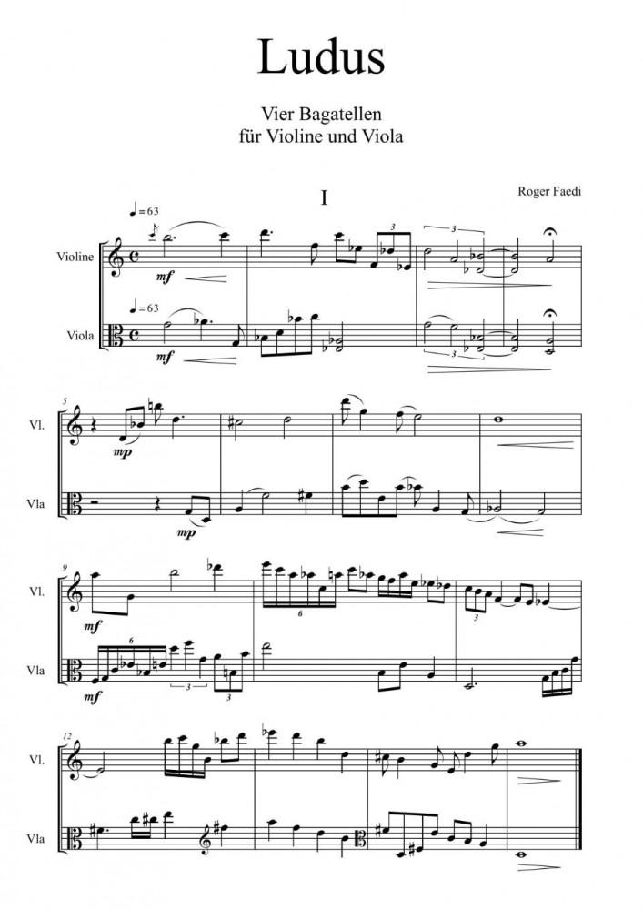 Ludus. 4 Bagatellen, op. 30, für Violine (Oboe) und Bratsche