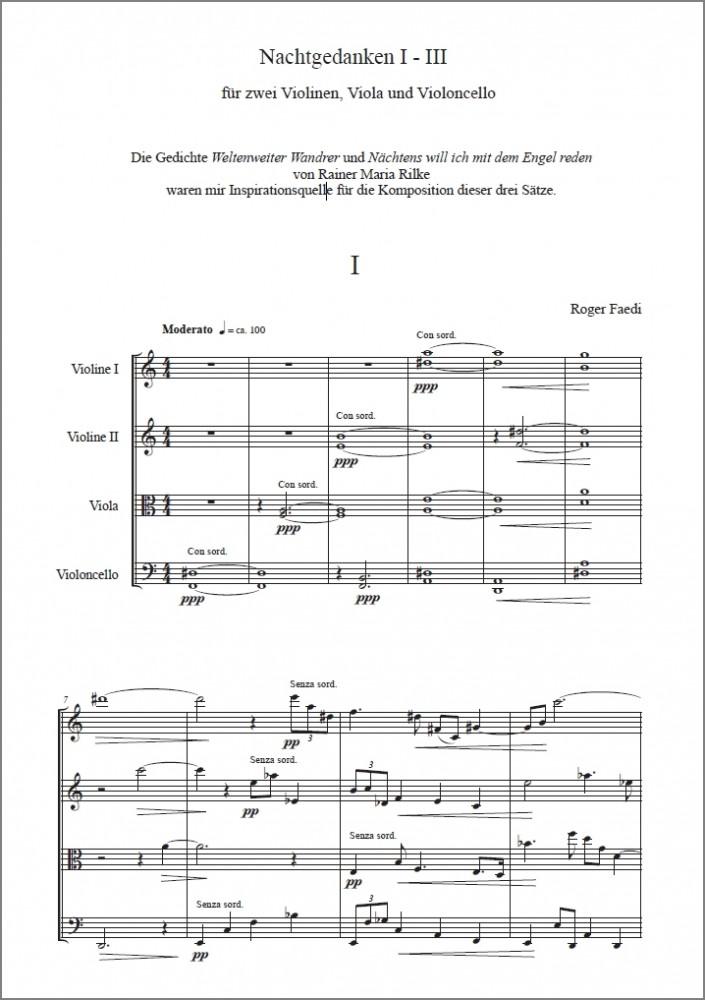Nachtgedanken I-III, op. 27, für zwei Violinen, Viola und Violoncello