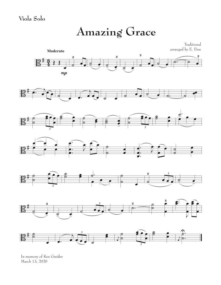 Amazing Grace, Bearbeitung für Bratsche