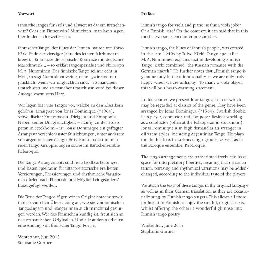 Finn Tango I, 4 Tangos, arrangiert für Bratsche und Klavier