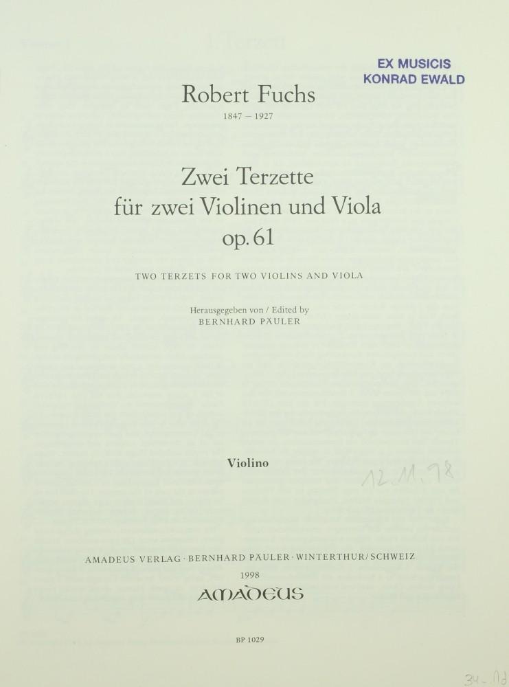2 Terzette, op. 61, für 2 Violinen und Bratsche