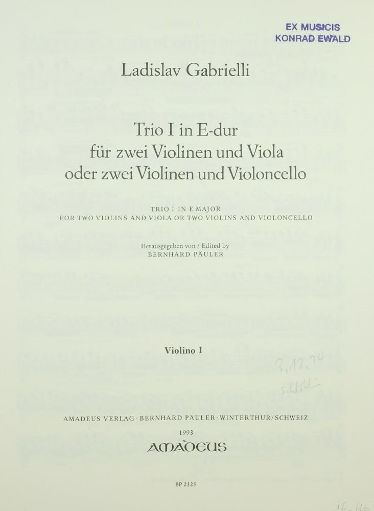 2 Trios (E/d), für 2 Violinen und Bratsche (Violoncello)