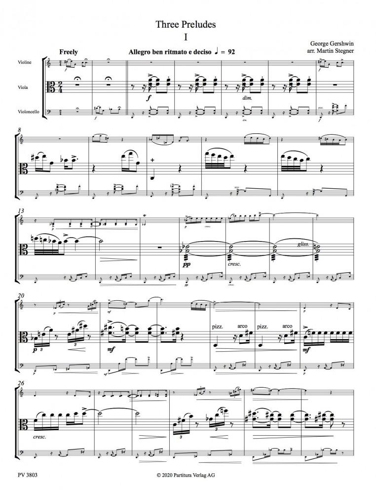 Three Preludes arrangiert für Streichtrio