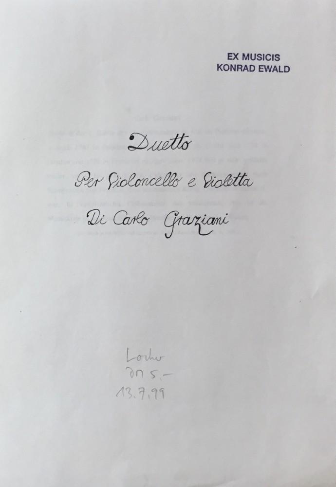 Duo C-dur für Violoncello und Bratsche