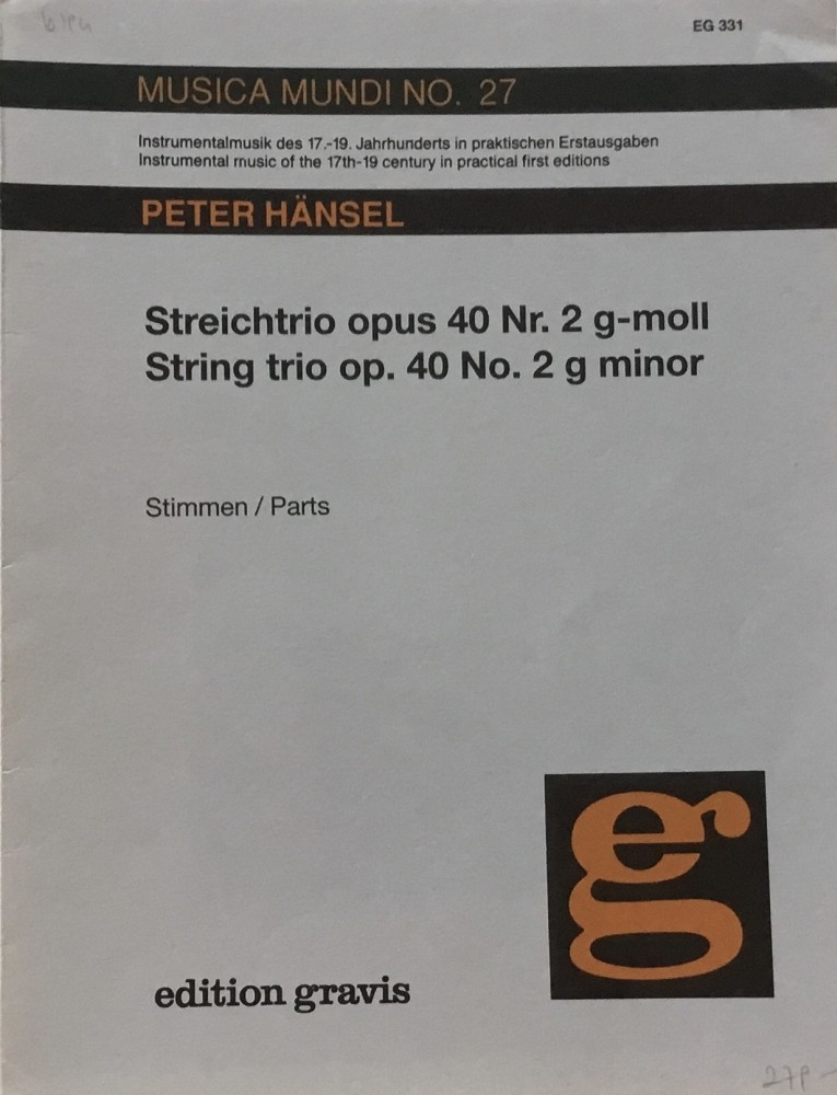 Trio g-moll, op. 40, Nr. 2, für Violine, Bratsche und Violoncello