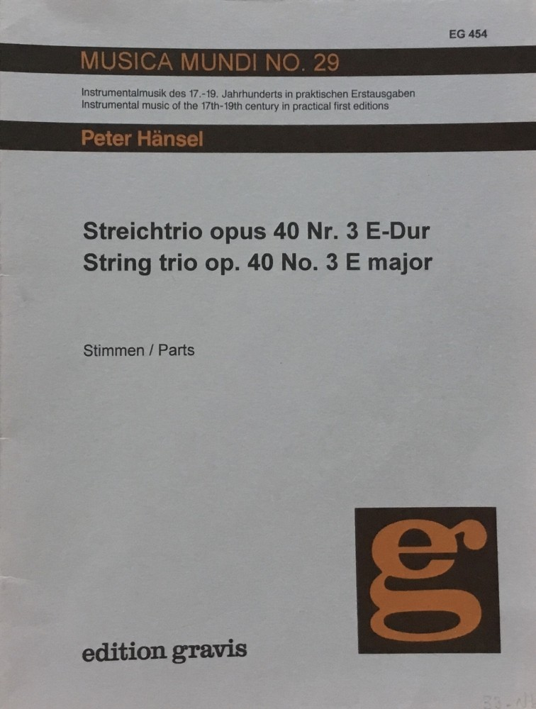 Trio E-major, op. 40, No. 3, for Violin, Viola and Violoncello