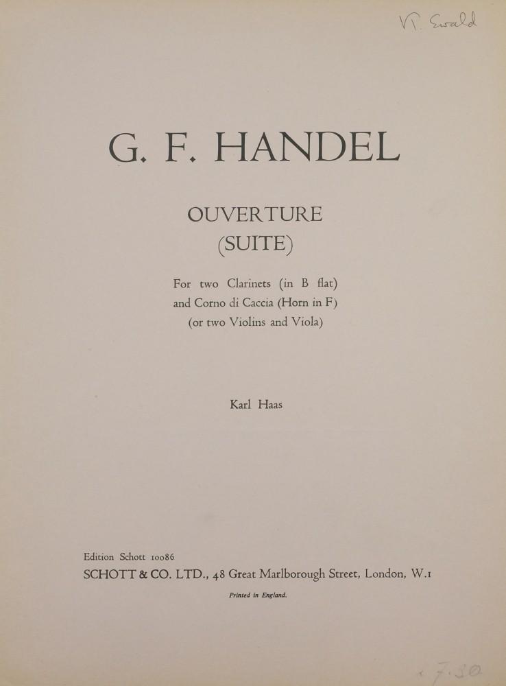 Ouvertüre zu «Alexander's Feast», arrangiert für 4 Bratschen