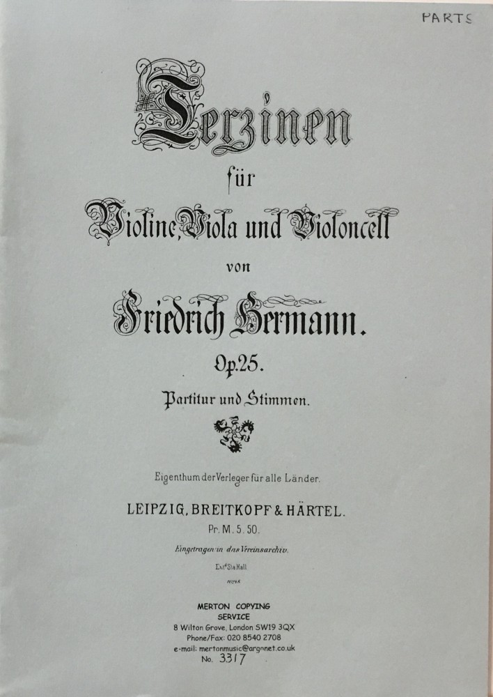 Terzinen, op. 25, für Violine, Bratsche und Violoncello