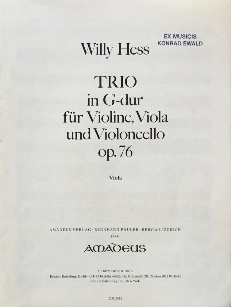 Trio G-major, op. 76, for Violin, Viola and Violoncello