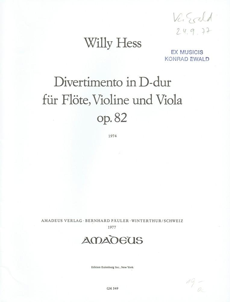 Divertimento D-dur, op. 82, für Flöte, Violine und Bratsche