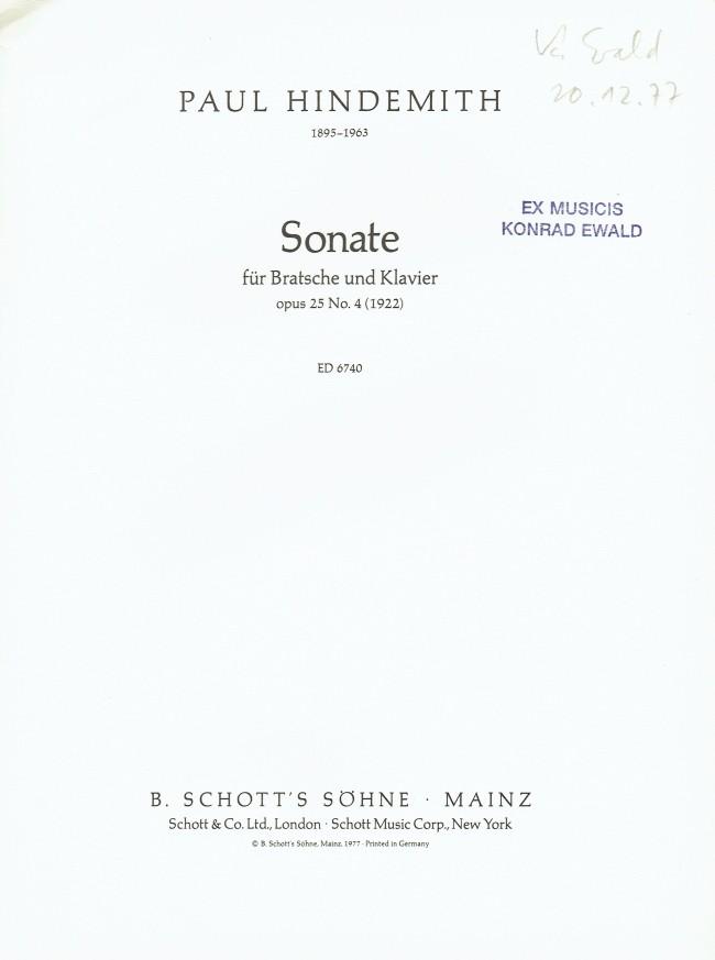 Music4Viola - Paul Hindemith - Sonata, op. 25, No. 4, for Viola and ...