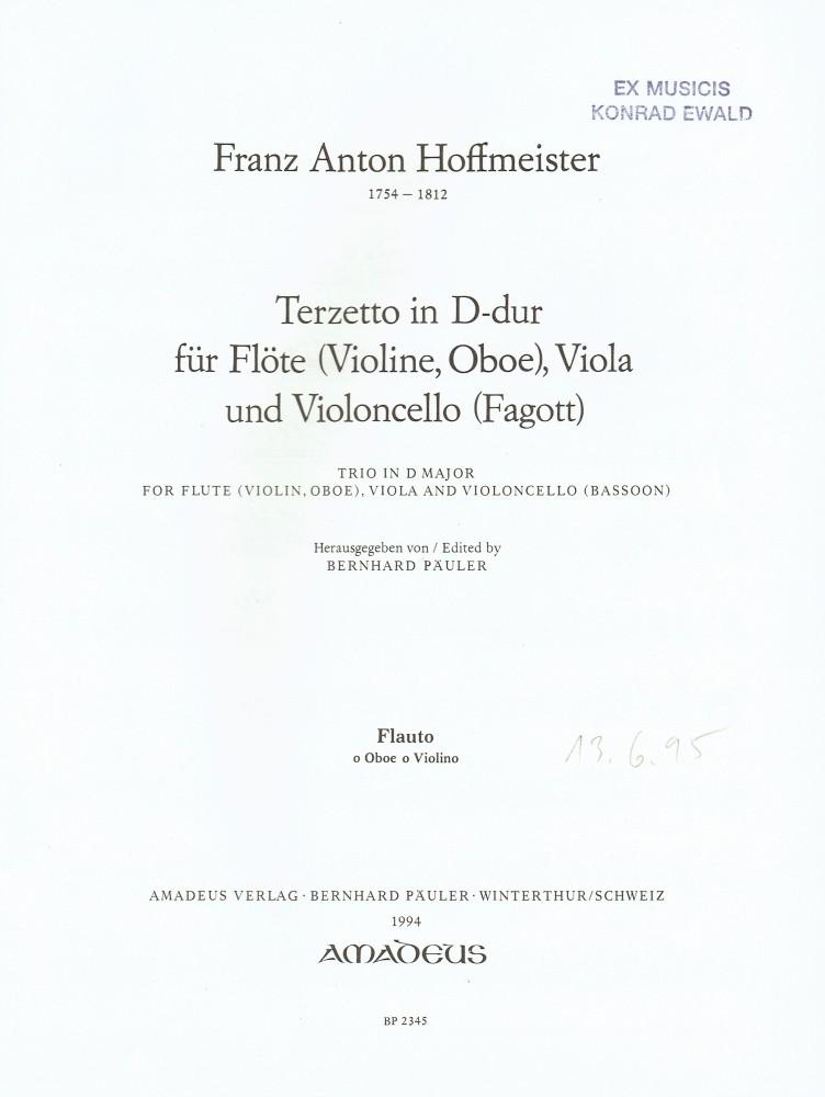 Terzetto D-dur, für Flöte (Violine), Bratsche und Violoncello