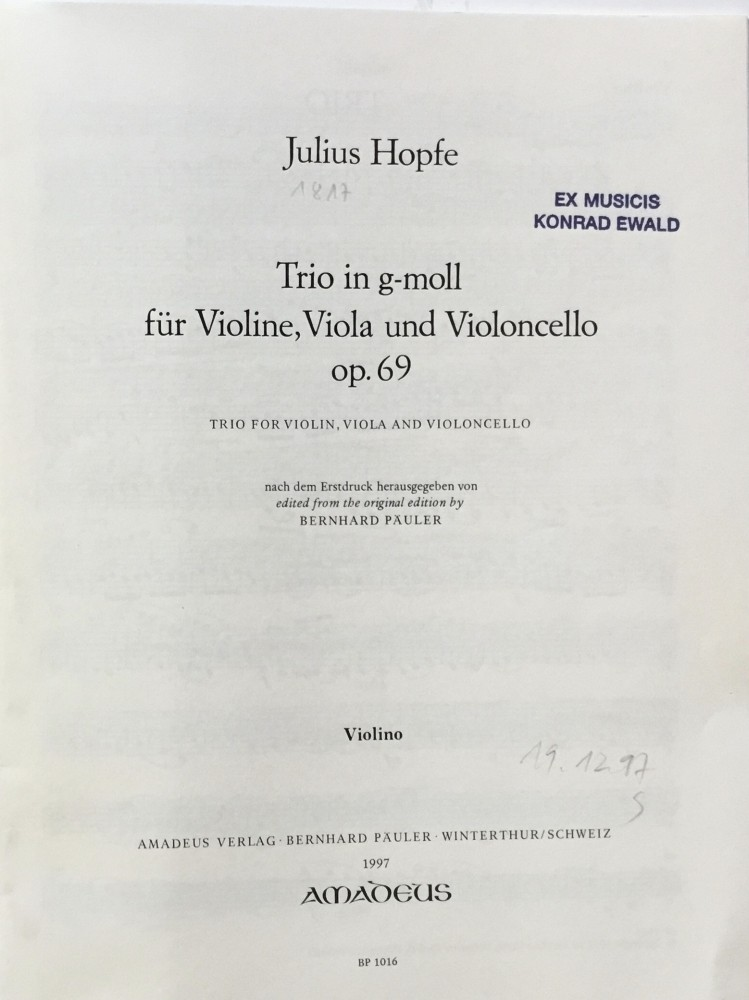 Trio g-moll, op. 69, für Violine, Bratsche und Violoncello