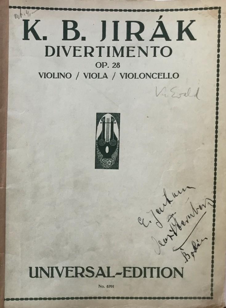 Divertimento, op. 28, für Violine, Bratsche und Violoncello