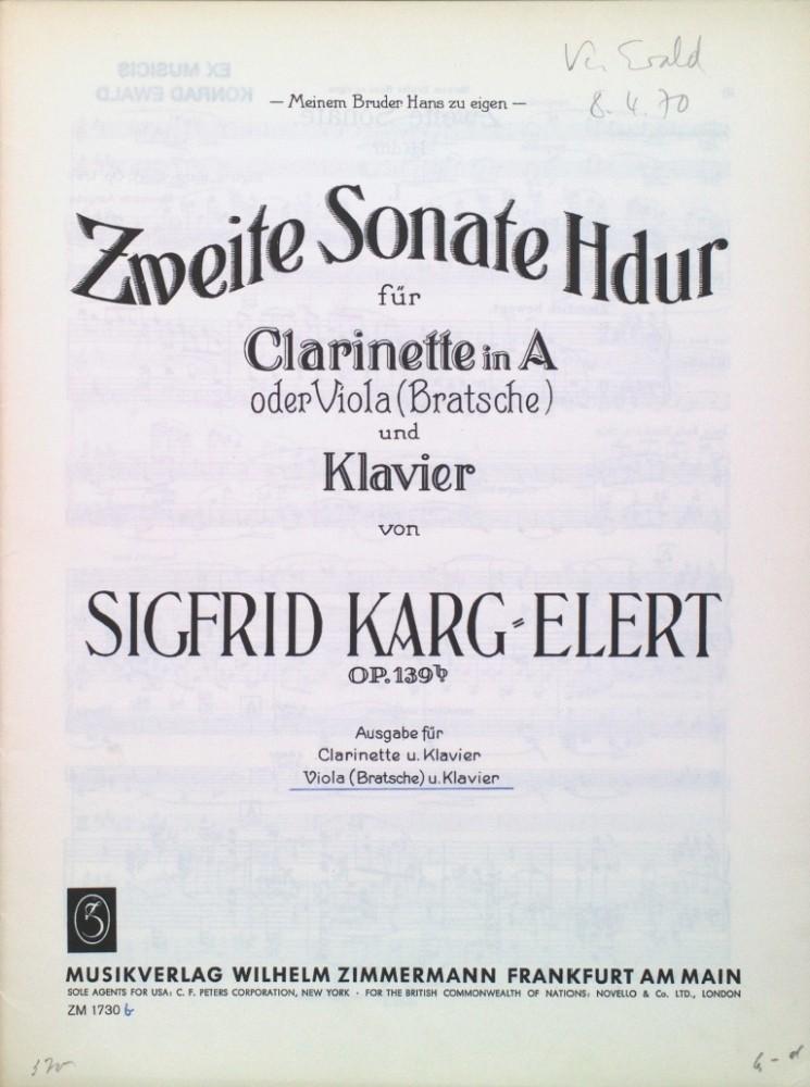 2. Sonate H-dur, op. 139b, für Klarinette (Bratsche) und Klavier