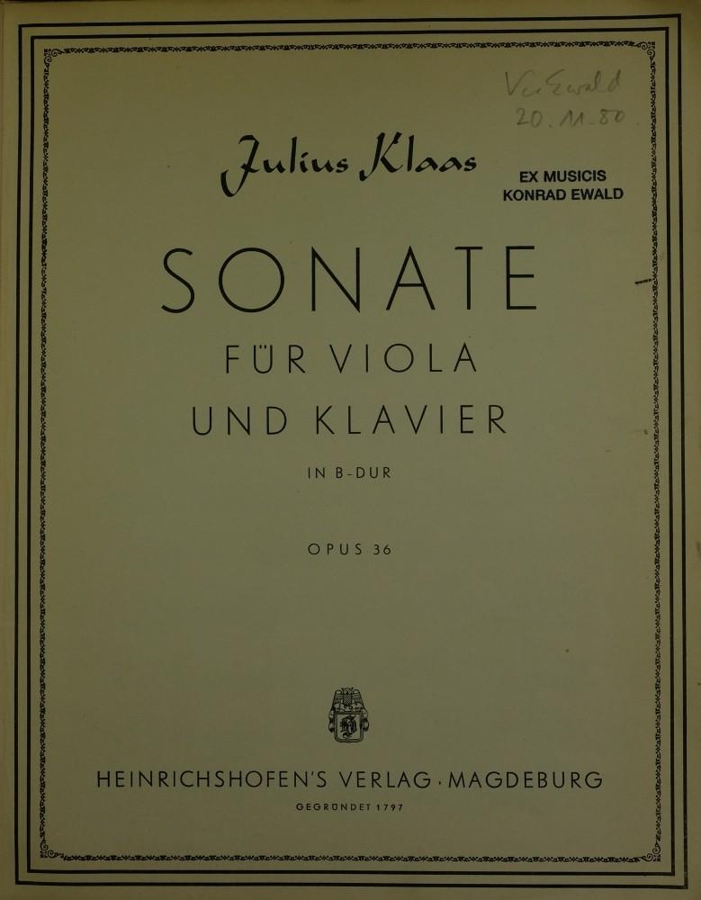 1. (?) Sonate B-dur, op. 36, für Bratsche und Klavier