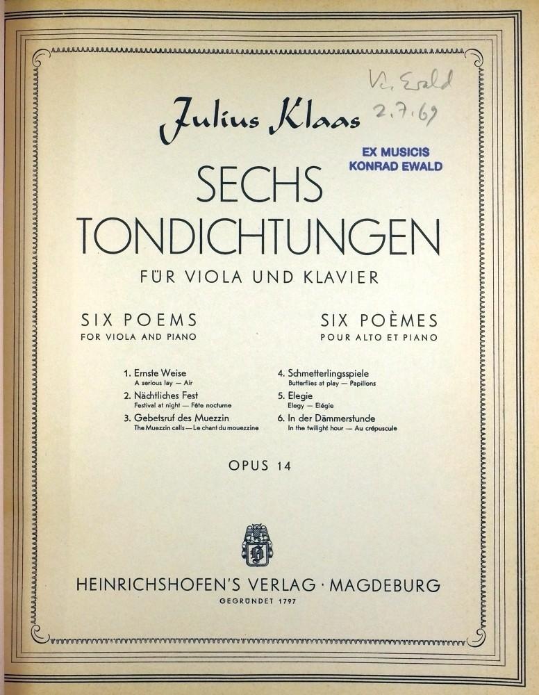 6 Tondichtungen, op. 14, für Bratsche und Klavier