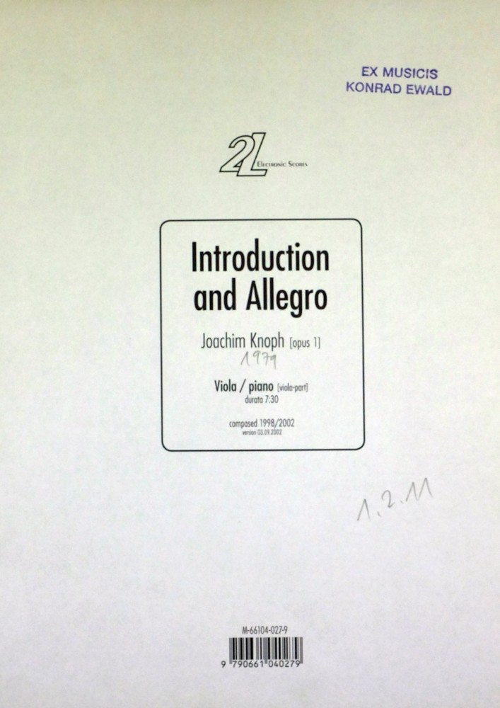 Introduction and Allegro, op. 1, for Viola and Piano