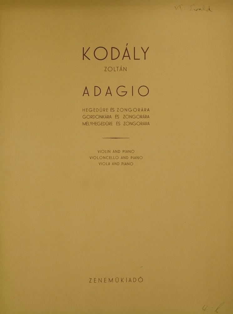 Adagio, für Violine (Bratsche/Violoncello) und Klavier