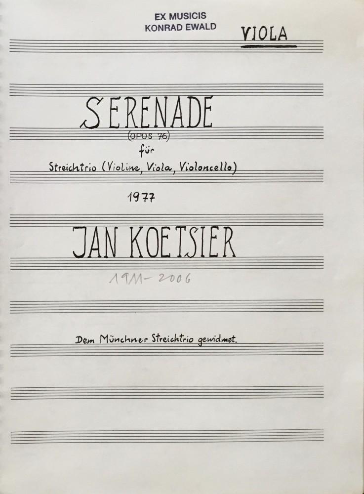 Serenade, op. 76, für Violine, Bratsche und Violoncello