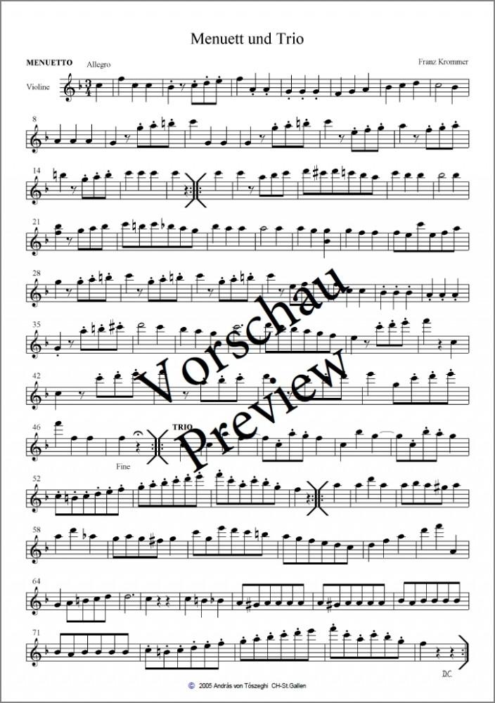 Menuett und Trio F-dur, arrangiert für Violine, Bratsche und Violoncello